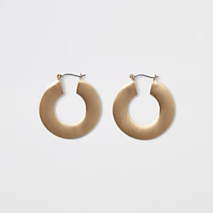 Gold color matte flat hoop earrings