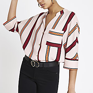 Pink stripe batwing sleeve shirt