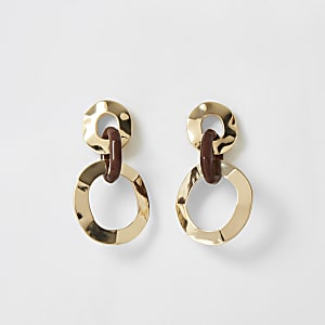 Gold colour interlinked drop earrings