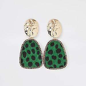 Gold colour green leopard drop earrings