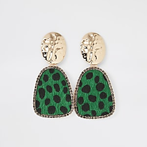 Gold color green leopard drop earrings
