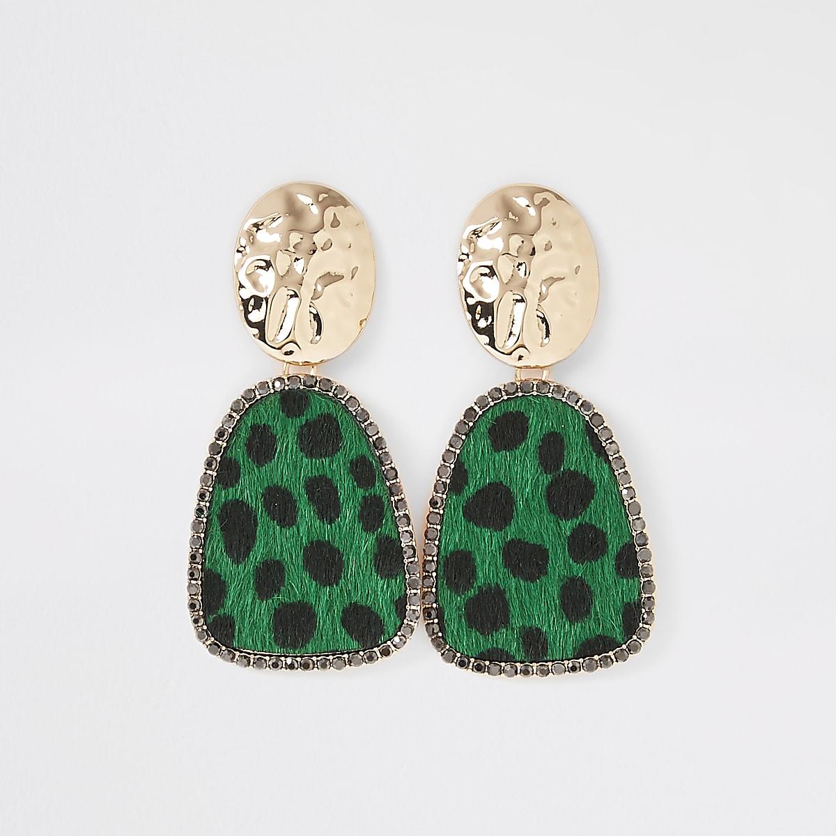 Gold color green leopard drop earrings