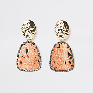 Gold colour orange snake print drop earrings