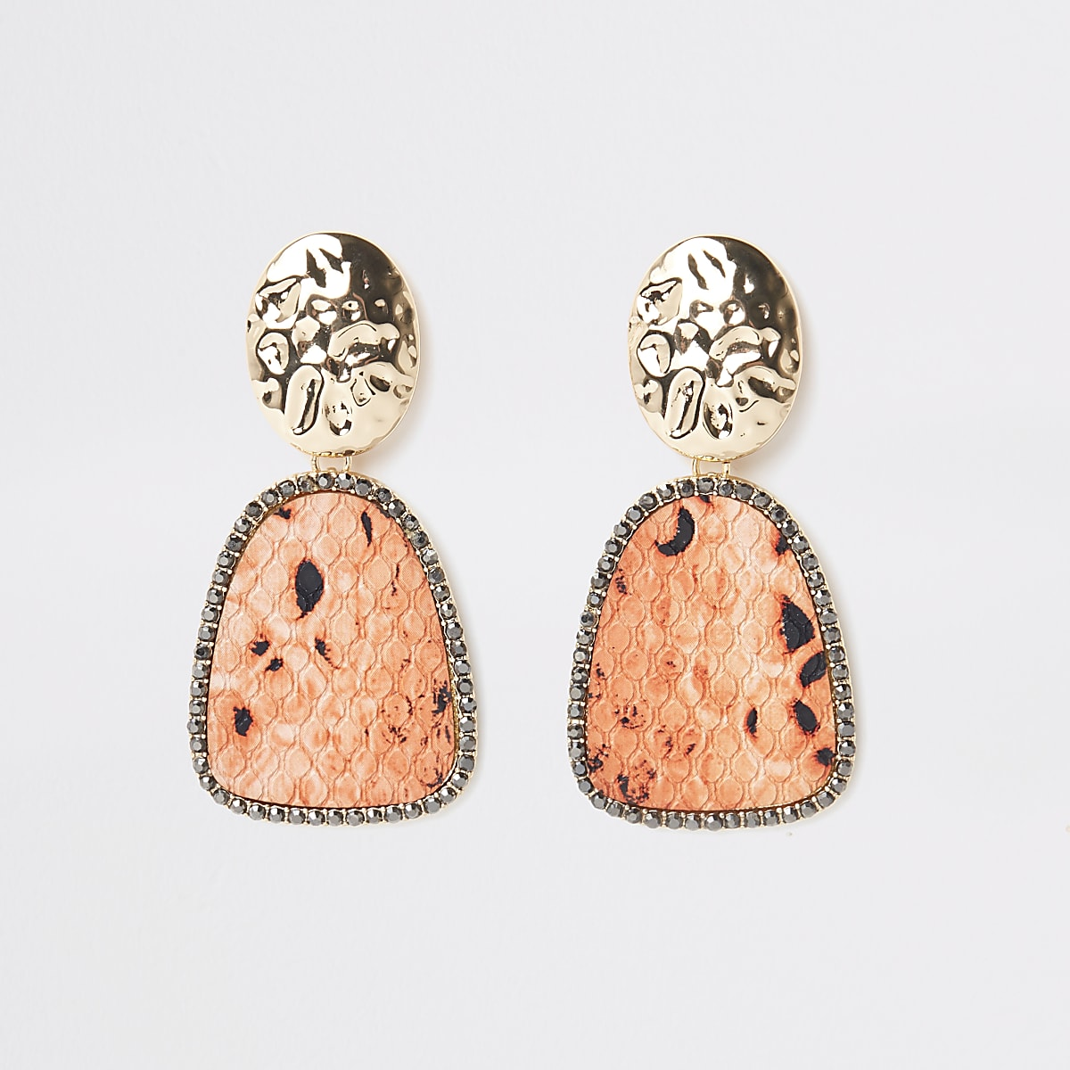 Gold color orange snake print drop earrings