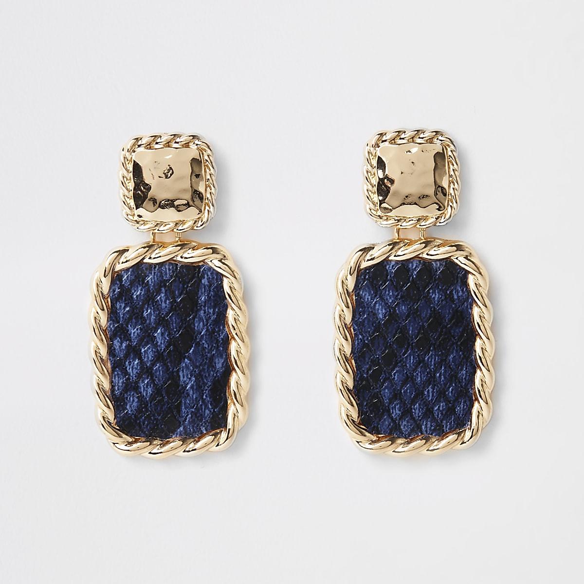 Blue snake print rectangle drop earrings