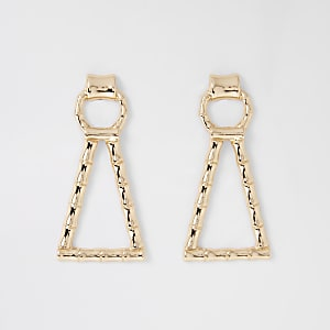 Gold colour bamboo drop earrings