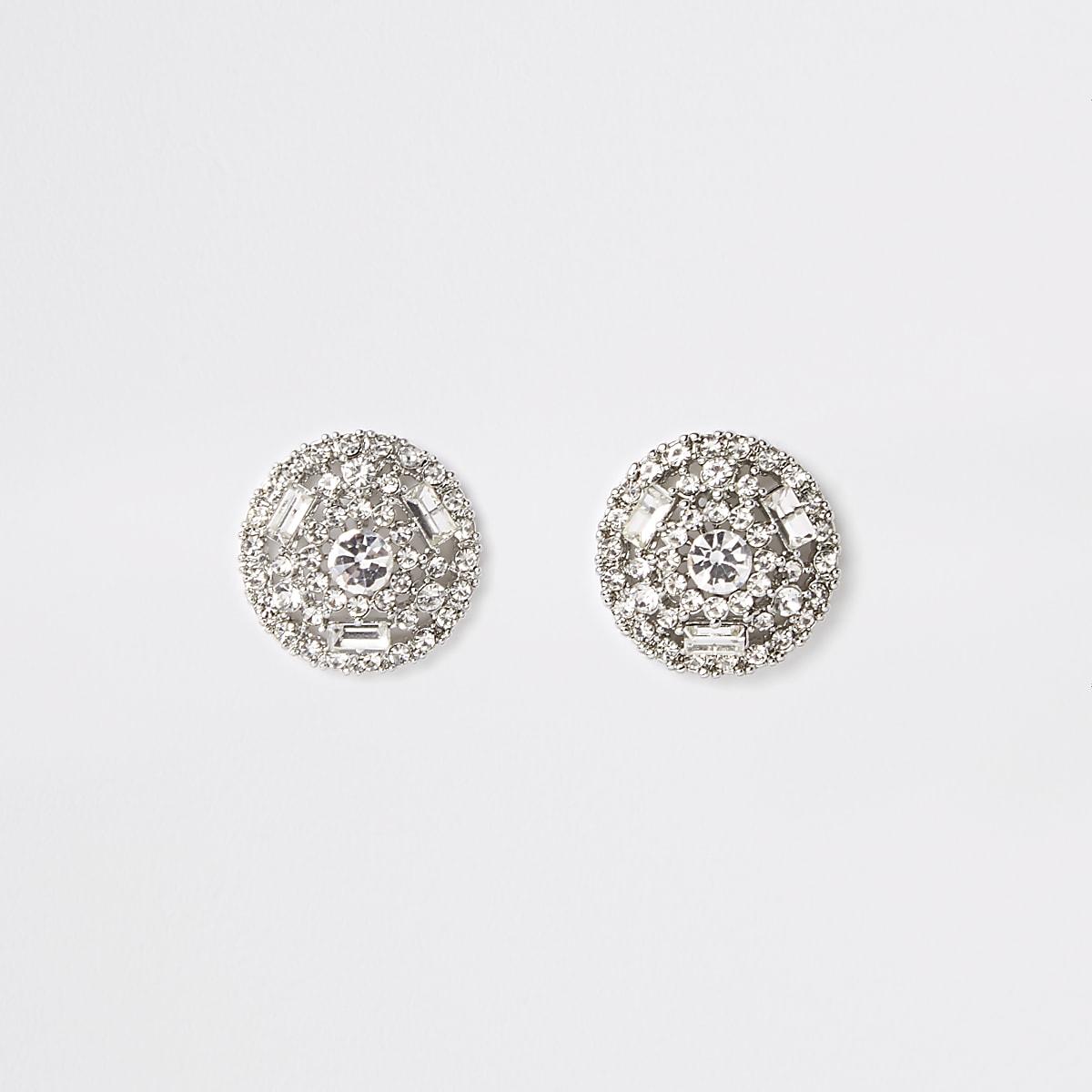 Silver colour round diamante stud earrings