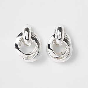 Silver colour hoop twist stud earrings