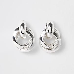 Silver colour hoop twist stud earrings