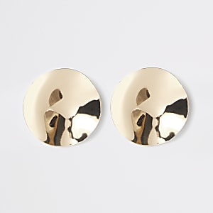 Gold color hammered disc stud earrings