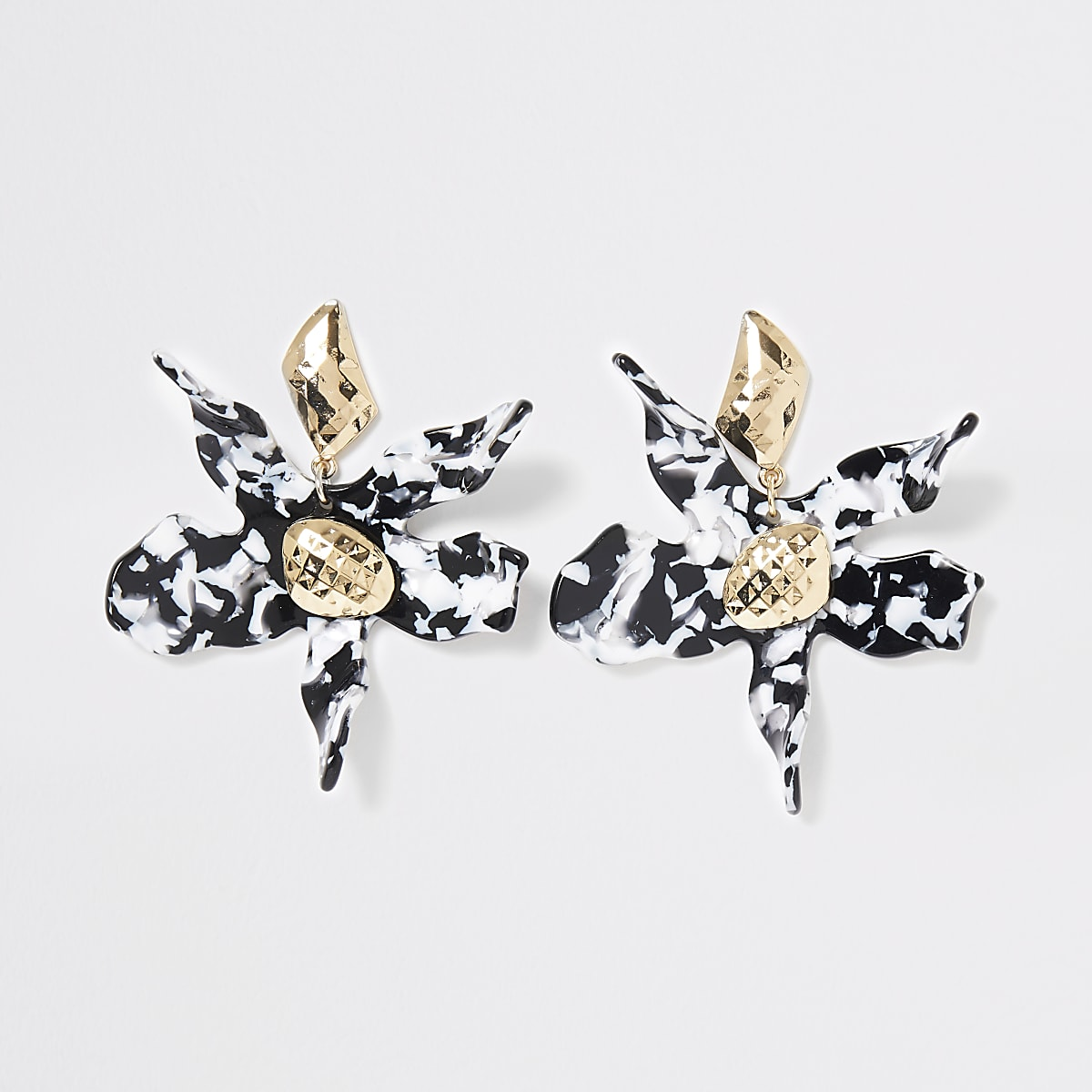 Black mono print flower drop earrings