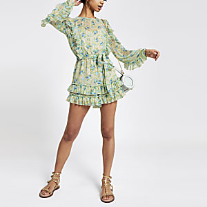 Blue floral ruffle playsuit