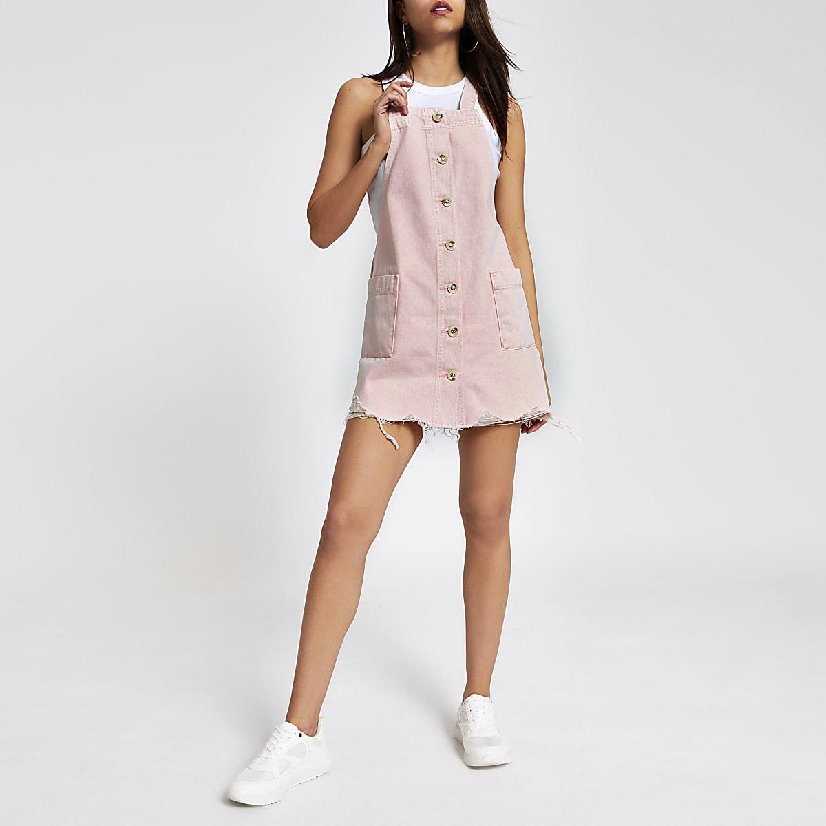Pink denim pinafore dress