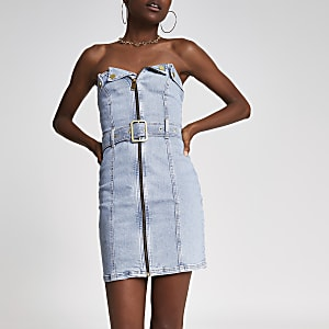 Light blue denim belted bandeau dress