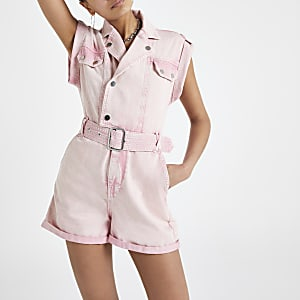 Pink utility denim playsuit