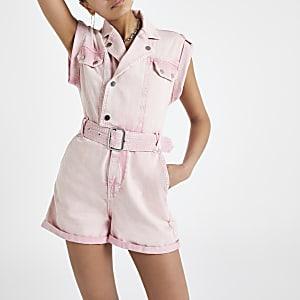 Pink utility denim romper