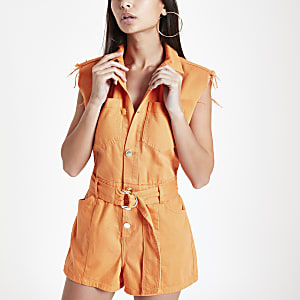 Combi-short utilitaire en denim orange