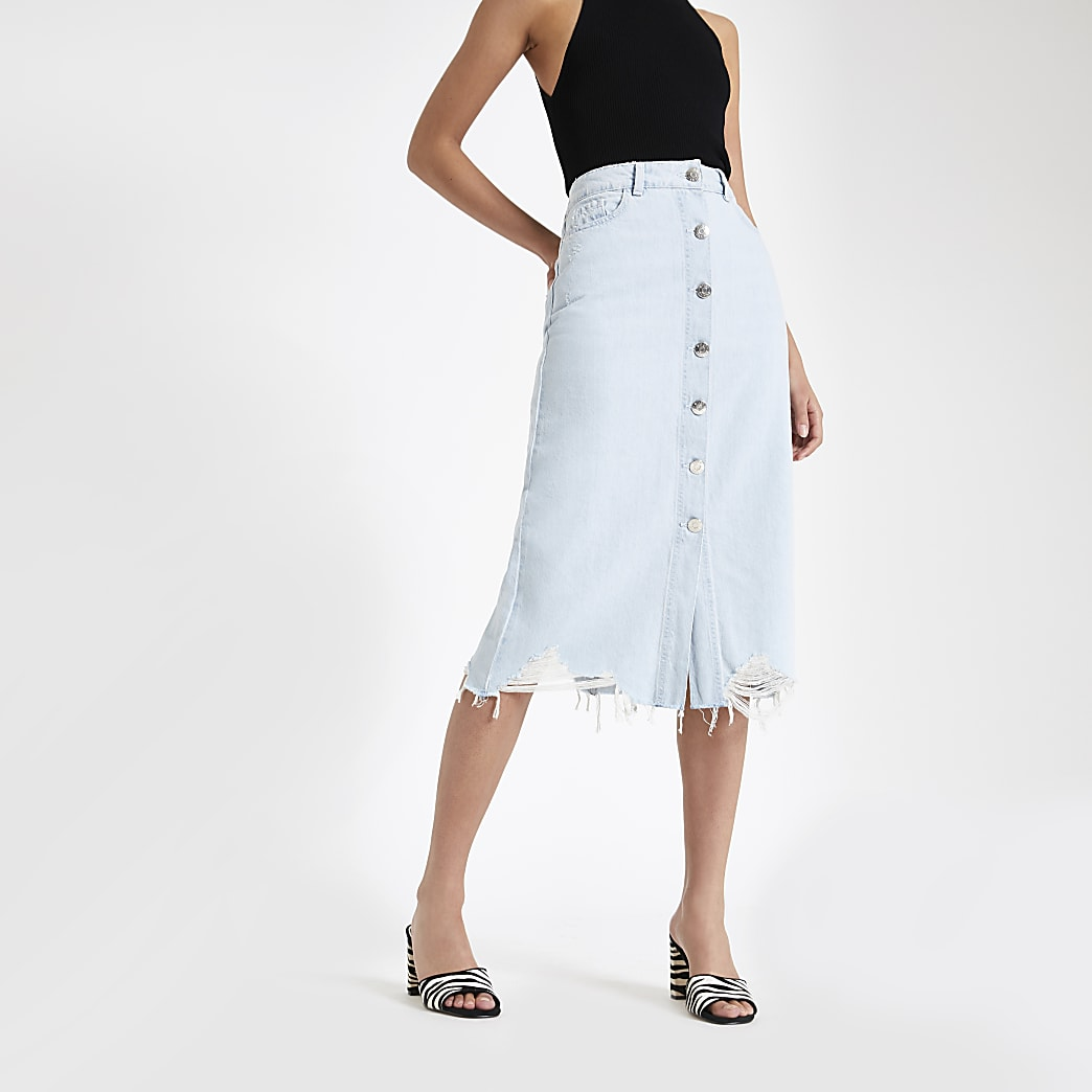 Light blue button front midi denim skirt