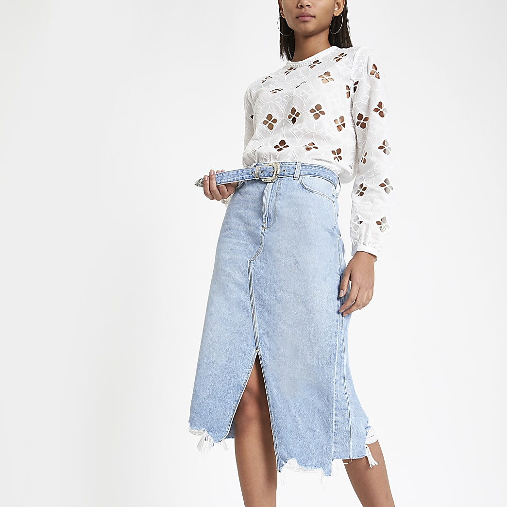 Blue belted A line midi denim skirt