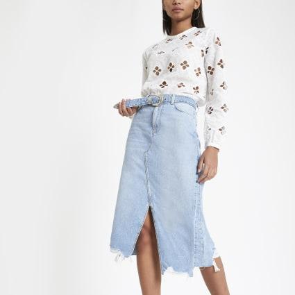 Blue belted A line midi denim skirt