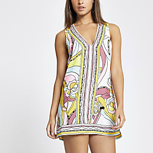 Pink swirl embellished mini beach dress