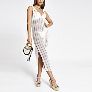 White stripe knitted beach midi dress