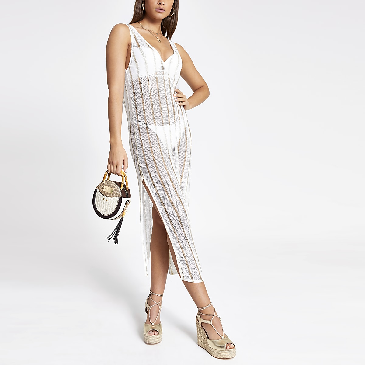 White stripe knitted beach midi dress