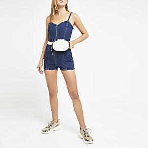 Dark blue denim romper