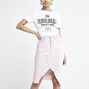Lilac denim pencil skirt