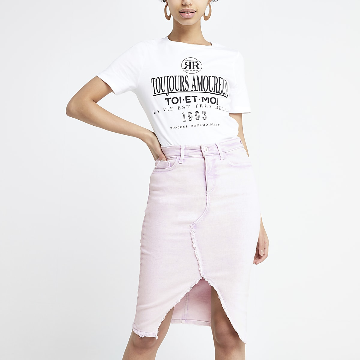 Lilac denim pencil skirt