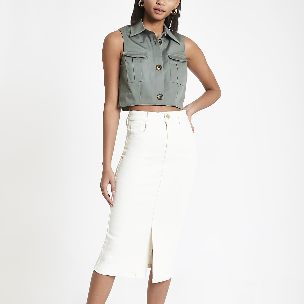 Cream midi denim skirt