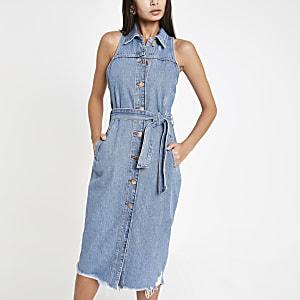 Robe-chemise mi-longue en denim bleu moyen