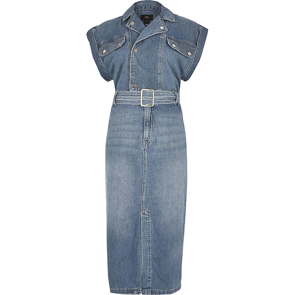 6b47a0dd973 Blue belted midi denim dress - Shirt Dresses - Dresses - women