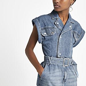 Blaues Midi-Jeanskleid mit Gürtel