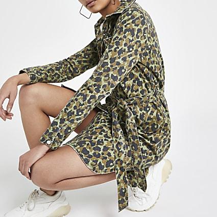 Khaki camo denim shirt dress