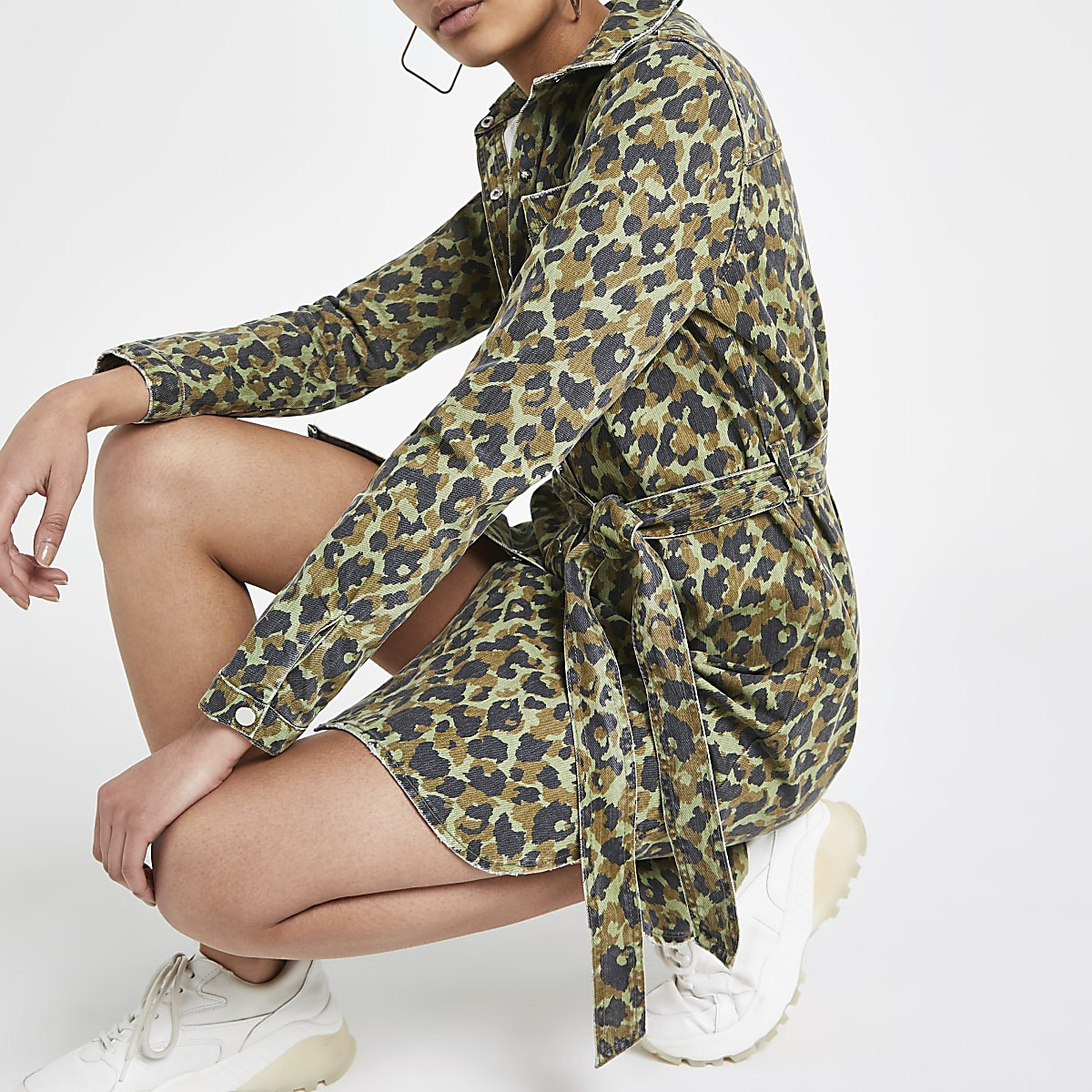 Khaki camo denim shirt dress