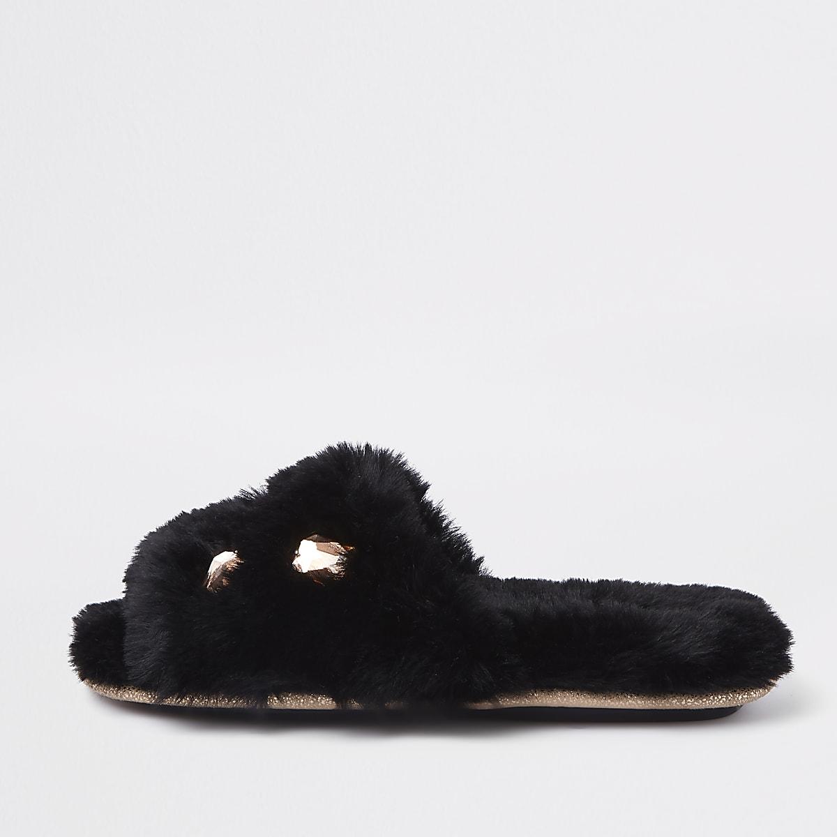Black faux fur embellished mules