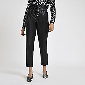 Black faux leather paperbag button pants