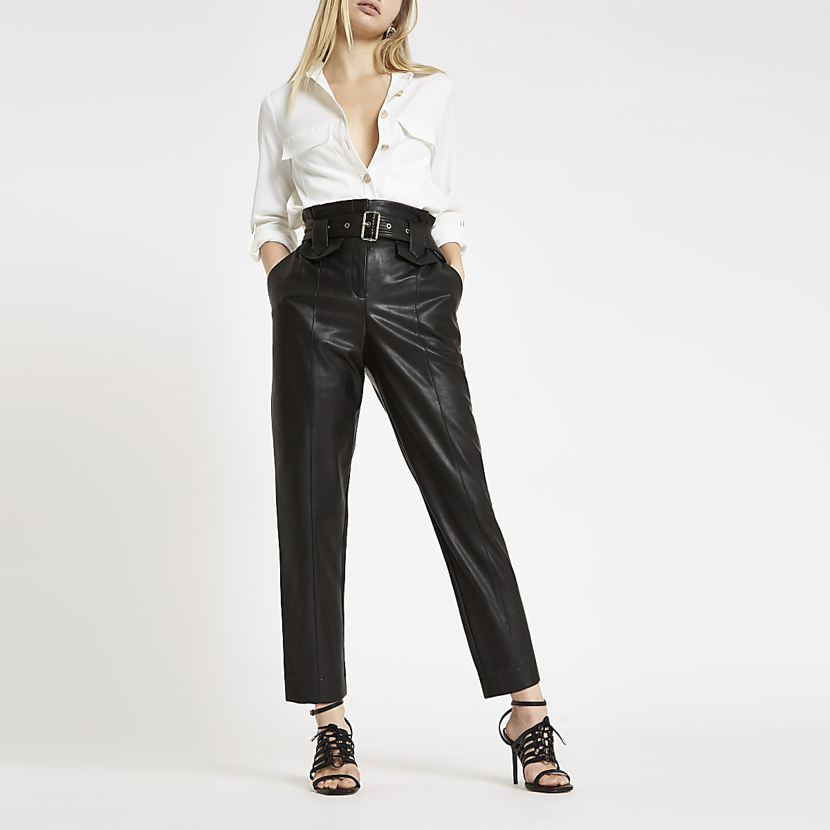 Black faux leather tapered paperbag pants