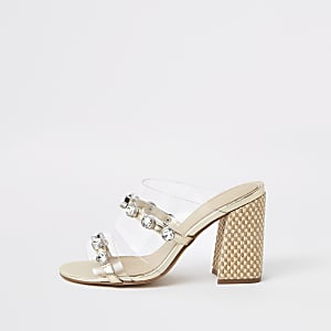 Weiße, strassverzierte Sandalen