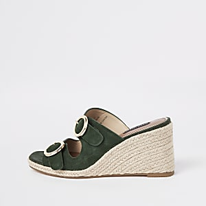 Khaki square toe suede wedges