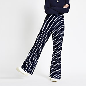 Navy spot print plisse flare pants