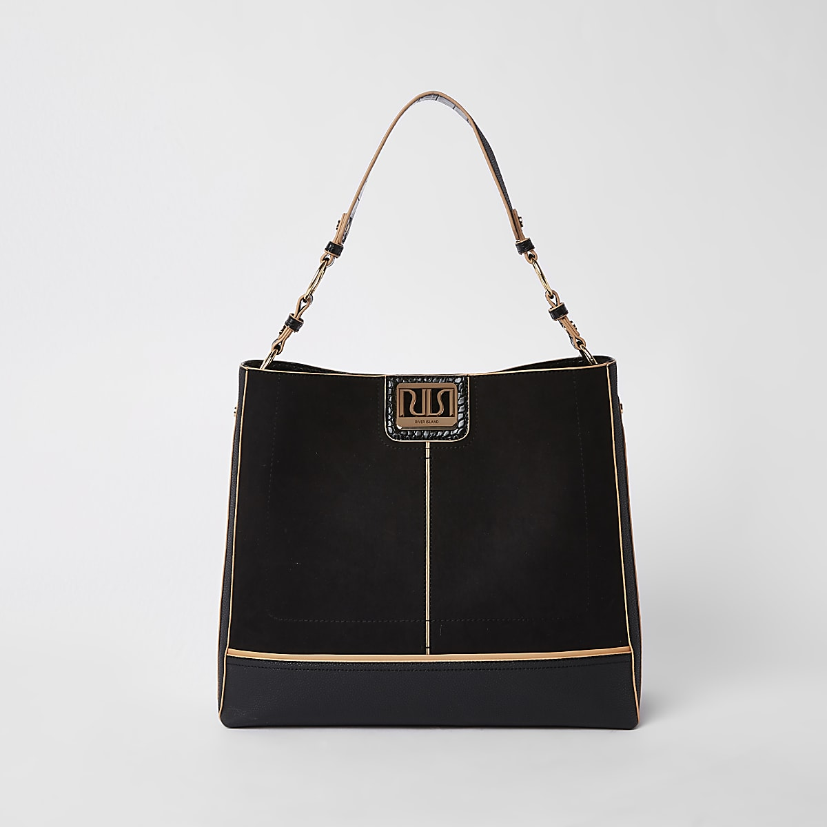 Black tab front slouch bag