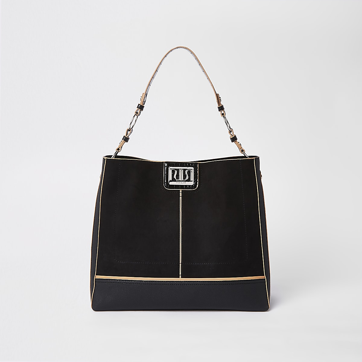 Black silver tab front slouch bag