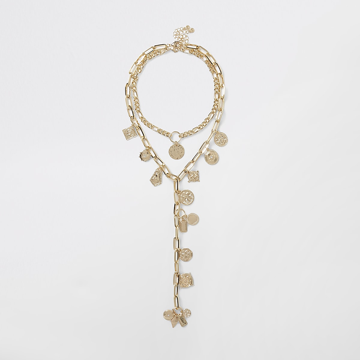 Gold color coin layered drop necklace