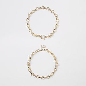 Gold colour chain link T bar necklace