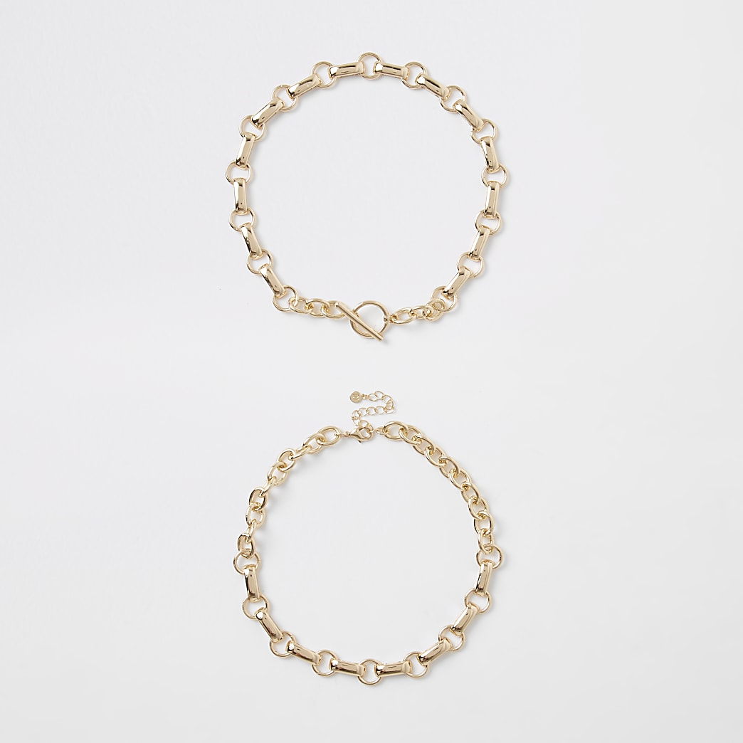 Gold colour chain link T bar necklace