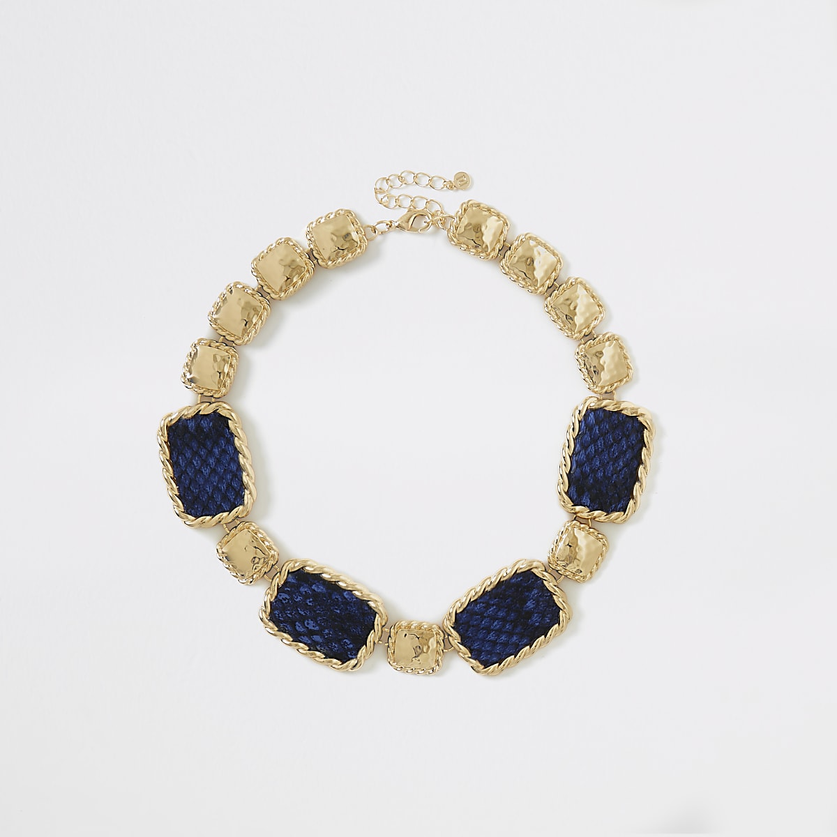 Blue snake print statement necklace