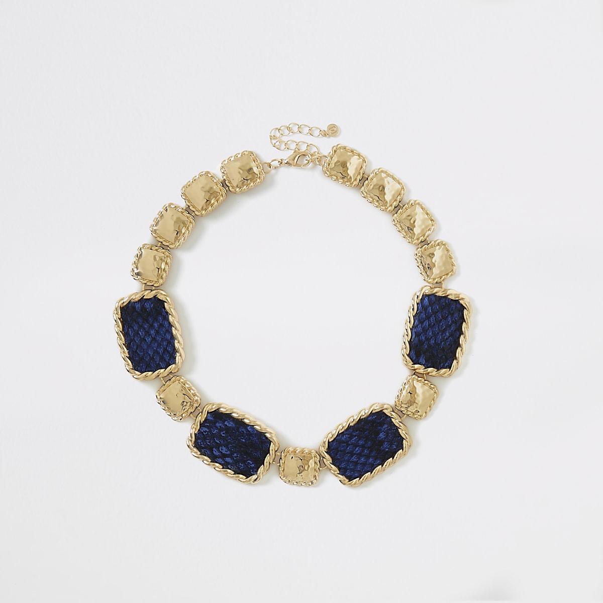 Blue snake print statement necklace