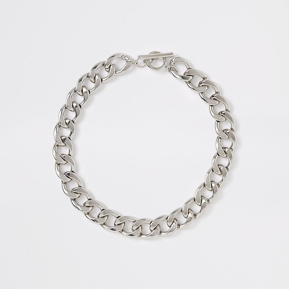 Silver colour chunky curb chain necklace